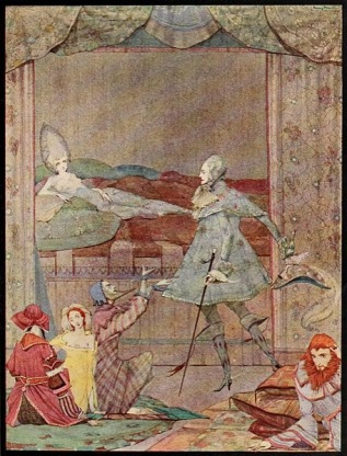 457px Page facing 56 illustration from Fairy tales of Charles Perrault Clarke 1922