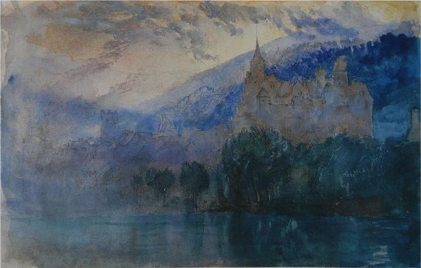 The chateau of neuchatel at dusk with jura mountains beyond 1866 jpg Large